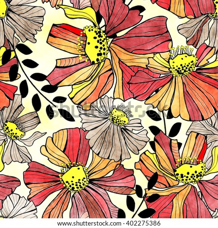 art vintage stylized flowers seamless pattern, background in red, orange, yellow, beige and black colors  - stock photo