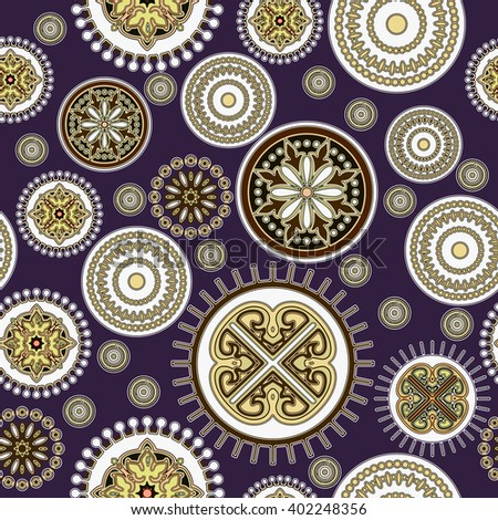 art vintage stylized geometric flowers seamless pattern, colored background - stock photo