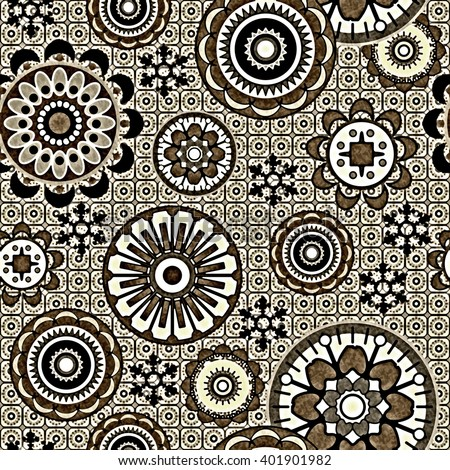 art vintage stylized geometric flowers seamless pattern, monochrome background with olive grey color - stock photo