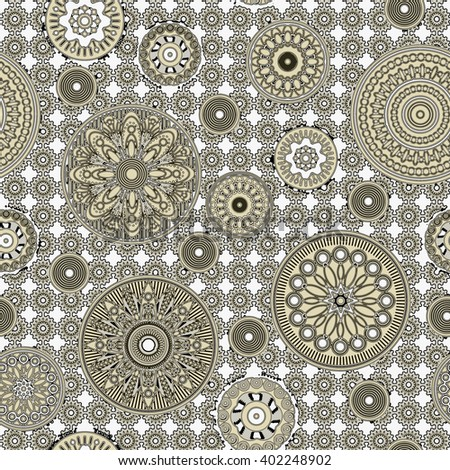 art vintage stylized geometric flowers seamless pattern, monochrome background with olive grey color