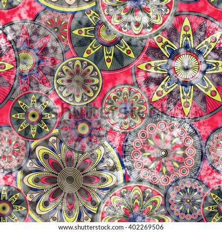 art vintage stylized geometric flowers seamless pattern, monochrome background with red, green, black and white colors - stock photo