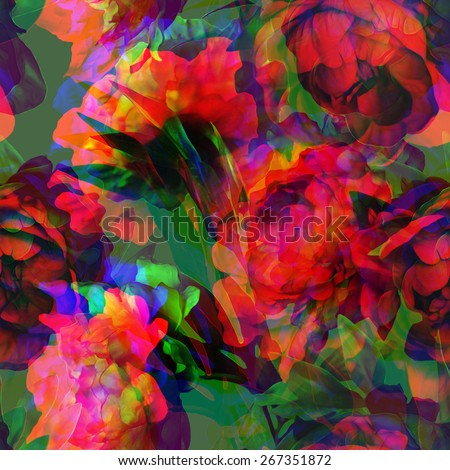art vintage watercolor and graphic floral seamless pattern with pink and red peonies on dark green background; Double Exposure effect - stock photo
