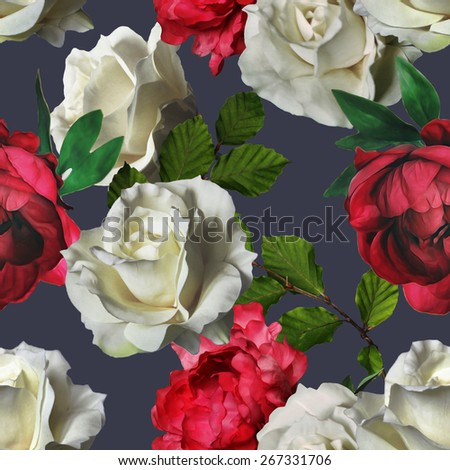 art vintage watercolor and graphic floral seamless pattern with white roses and red peonies on dark blue grey background - stock photo
