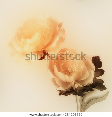 art vintage watercolor blurred floral pattern with golden peonies isolated on light gold background with space for text  - stock photo