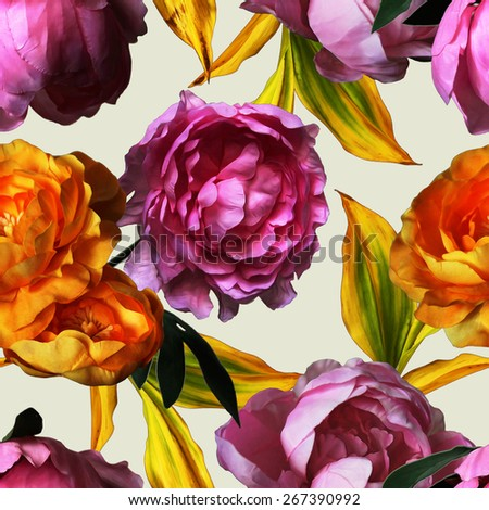 art vintage watercolor floral seamless pattern with gold and pink red peonies isolated on light background - stock photo