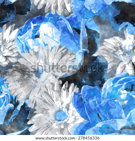 art vintage watercolor floral seamless pattern with white and blue roses and gerberas on dark grey background - stock photo