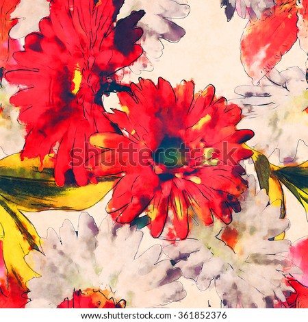 art vintage watercolor floral seamless pattern with white, gold yellow and red lilies and gerberas on white background - stock photo