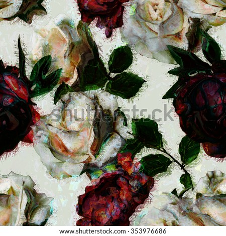art vintage watercolor floral seamless pattern with white roses and red peonies isolated on white background - stock photo