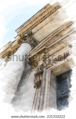 art watercolor background isolated on white basis with european antique town, Italy, Rome. Detail of classic order with small-caps on portal - stock photo