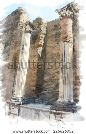 art watercolor background isolated on white basis with european antique town, Pompeii, Italy. Ruins of columns with classical order - stock photo