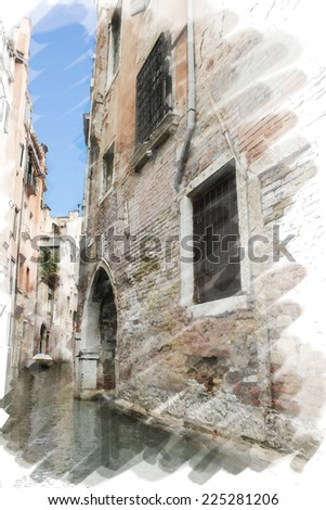 art watercolor background isolated on white basis with street and channel in Venice, Italy - stock photo