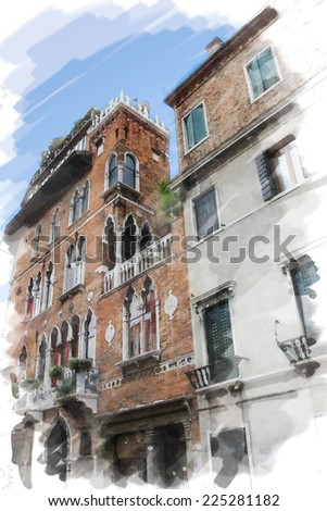 art watercolor background isolated on white basis with street  in Venice, Italy - stock photo