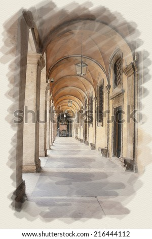 art watercolor background on paper texture with european antique town, Italy, Rome. Arcade of patio - stock photo