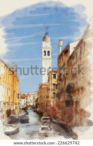 art watercolor background on paper texture with street, channel and boats in Venice, Italy - stock photo