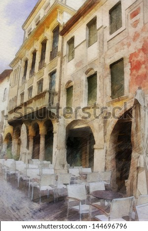 art watercolor background with europeans medieval town, outdoor cafe - stock photo