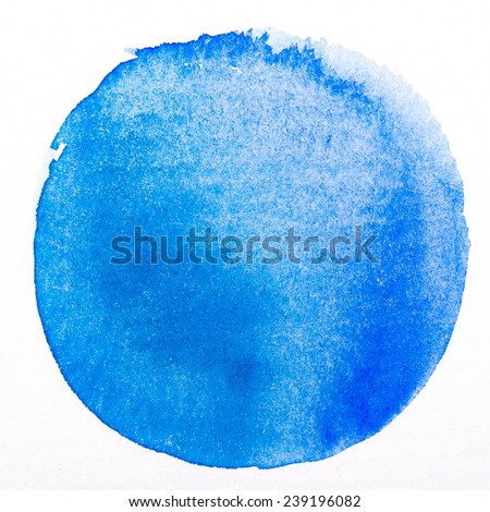 Art watercolor blue circle paint stain isolated on white rough texture paper background with clipping Path - stock photo