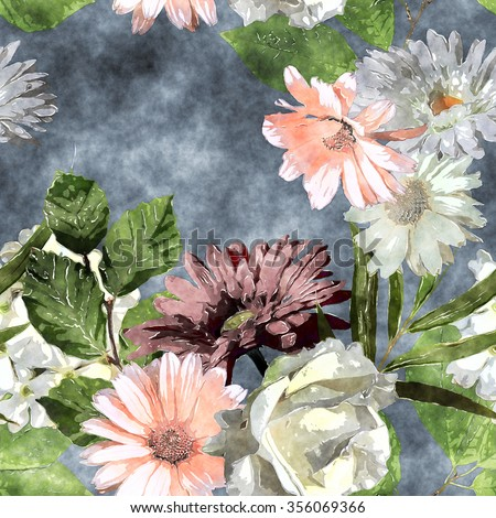 art watercolor vintage floral seamless pattern with white, purple and pink roses, asters, gerbera, phlox and peonies on blue background - stock photo