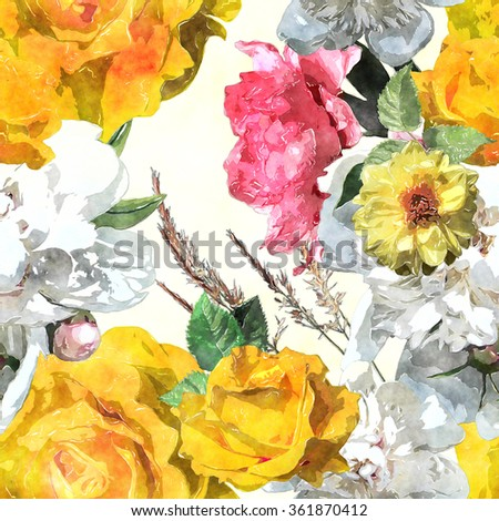 art watercolor vintage floral seamless pattern with white, yellow golden and pink roses, asters and peonies on white background