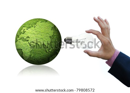 art work for concepts from light bulbs with green grass globe