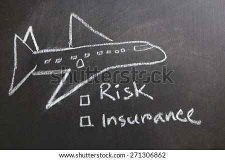 Art work of a plane with risk concept. Risk and insurance is written on blackboard which white color chalk.