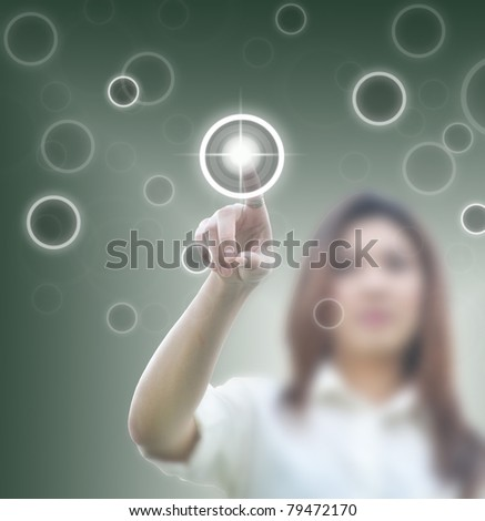art work of beautiful asian lady working with touch screen - stock photo