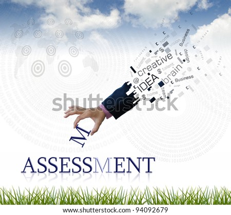 """art work of business hand with the """" assessment """" word with nature background. - stock photo"""