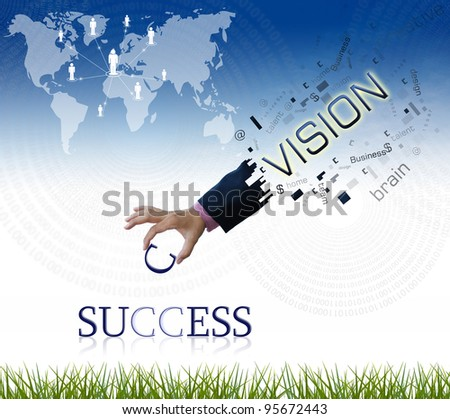 """art work of business hand with the """" success """" word with nature background. - stock photo"""