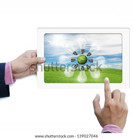 art work of touchpad computer use for business isolated on white background - stock photo