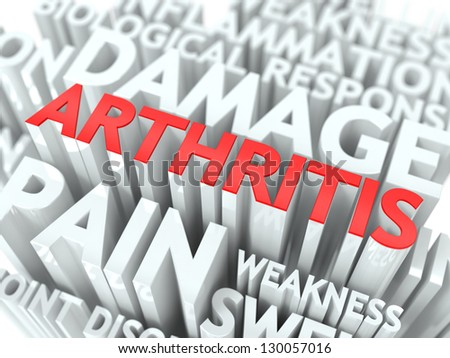 Arthritis Concept. The Word of Red Color Located over Text of White Color. - stock photo