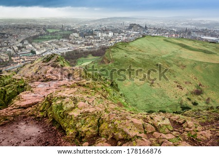 Arthur's Seat in a rainy day
