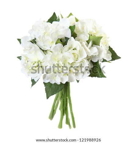 artificial bouquet of hydrangeas on a white background - stock photo