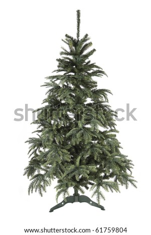 artificial christmas tree isolated on white background - stock photo