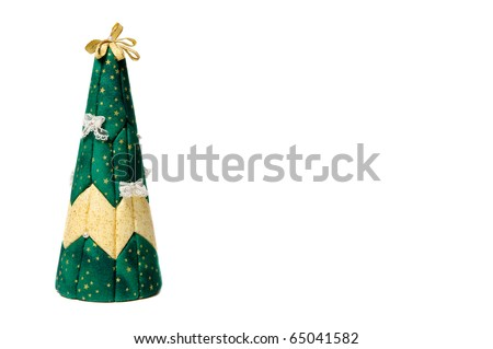 Artificial christmas tree isolated on white background