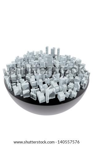 Artificial city - stock photo