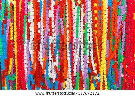 Artificial flower garland, use as a prize in the show