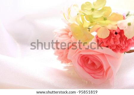 artificial flowers bouquet for wedding image - stock photo