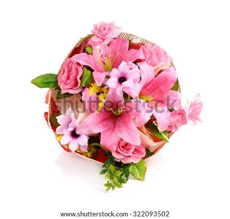 artificial flowers bouquet isolated on white