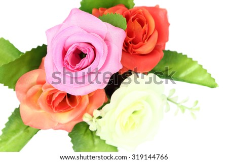 artificial flowers decorative isolated on the white background
