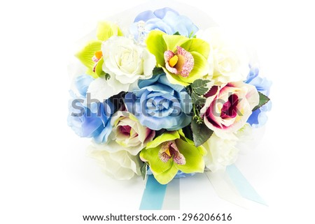Artificial flowers on white background - stock photo