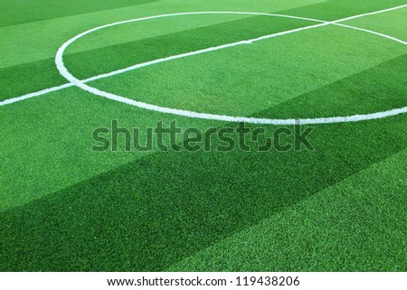 Artificial grass soccer field for background - stock photo