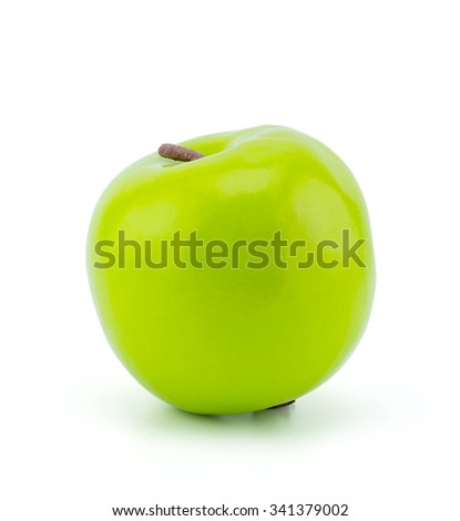 Artificial green apple on white background, clipping part