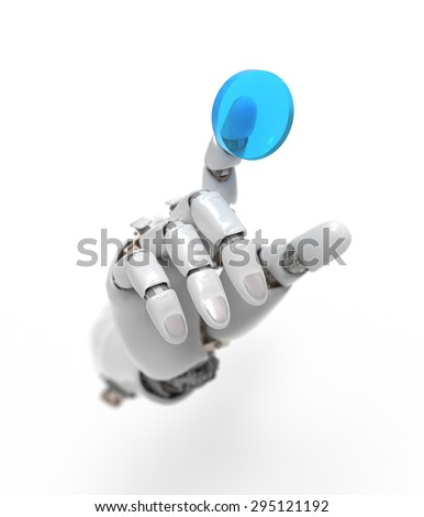 artificial hand presses the button - stock photo