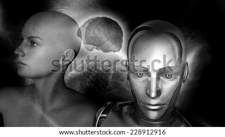 Artificial Intelligence - A robot woman head connected to a female head with a brain between - stock photo