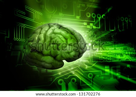 Artificial intelligence. digital brain . Digital illustration. - stock photo