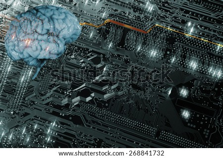 artificial intelligence, futuristic and communication, brain and computer-part - stock photo