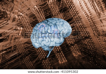 artificial intelligence, human brain against a circuit-board, surreal communication - stock photo