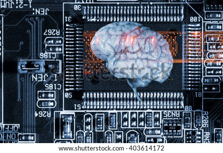 artificial intelligence, human brain and communication - stock photo
