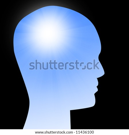 artificial intelligence on a black background - stock photo