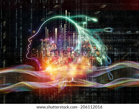 Artificial Intelligence series. Design composed of human profile and numbers as a metaphor on the subject of thinking, logic, computers and future technology - stock photo