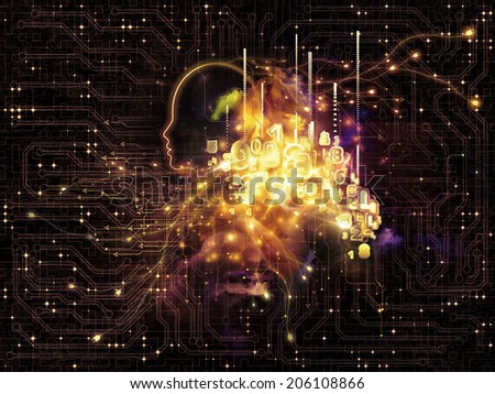 Artificial Intelligence series. Interplay of human profile and numbers on the subject of thinking, logic, computers and future technology - stock photo